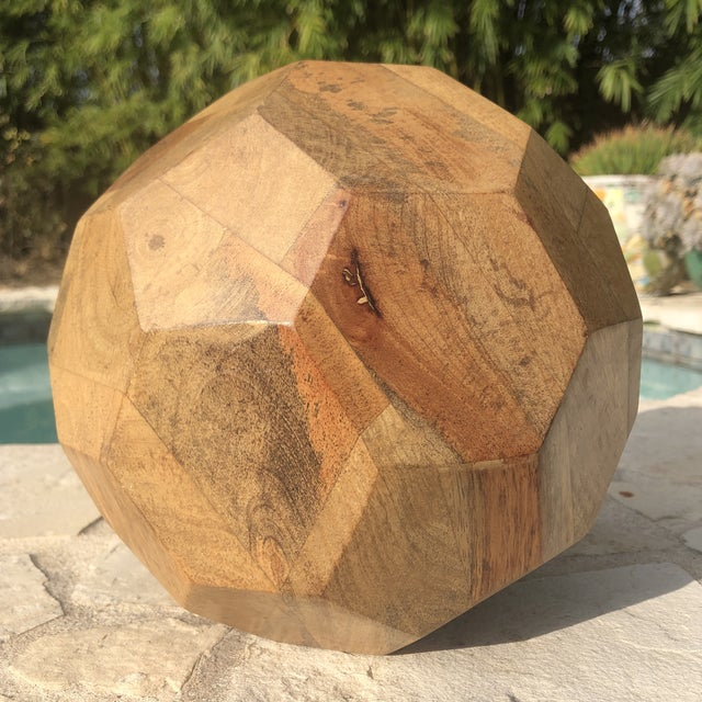 Brown Modern Organic Faceted Geometric Wood Sculptural Orb For Sale - Image 8 of 8