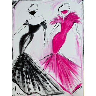"""""""Black and Fuchsia Evening Gown Duo"""" Original Christian Siriano Painting For Sale"""