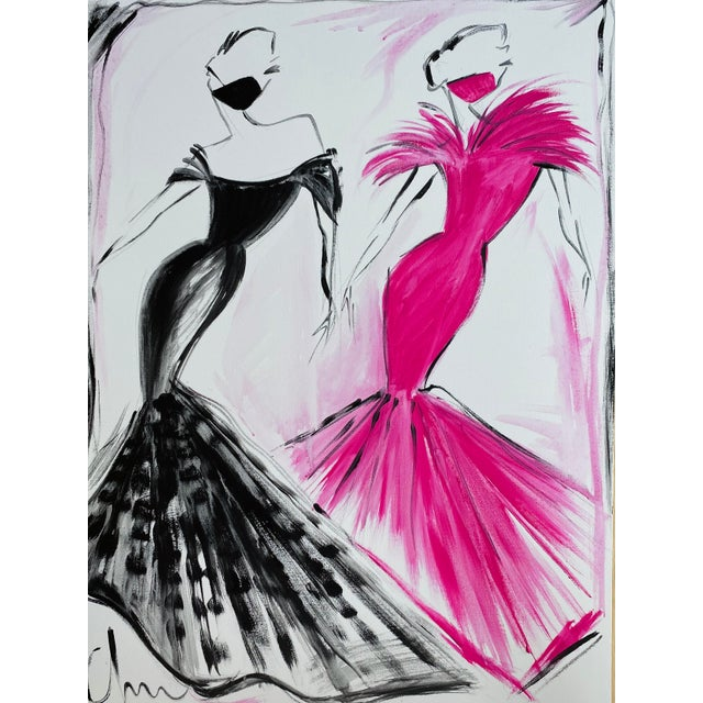 """Black and Fuchsia Evening Gown Duo"" Original Christian Siriano Painting For Sale"