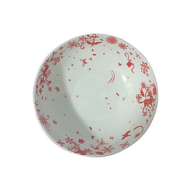 Red and white porcelain stag bowls with a stylized design around the entire perimeter of the bowls. These designer soup or...
