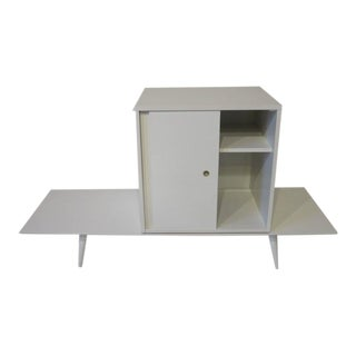 Paul McCobb Planner Group Cabinet on Bench in Rare Factory White Finish