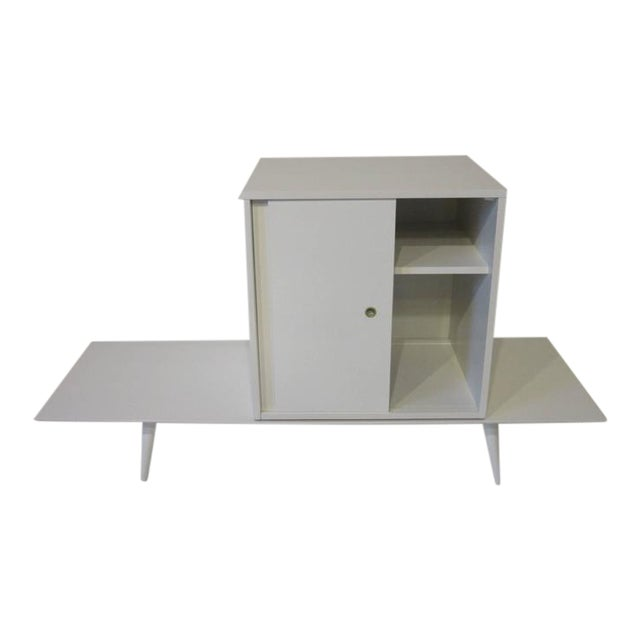Paul McCobb Planner Group Cabinet on Bench in Rare Factory White Finish - 2 pieces For Sale