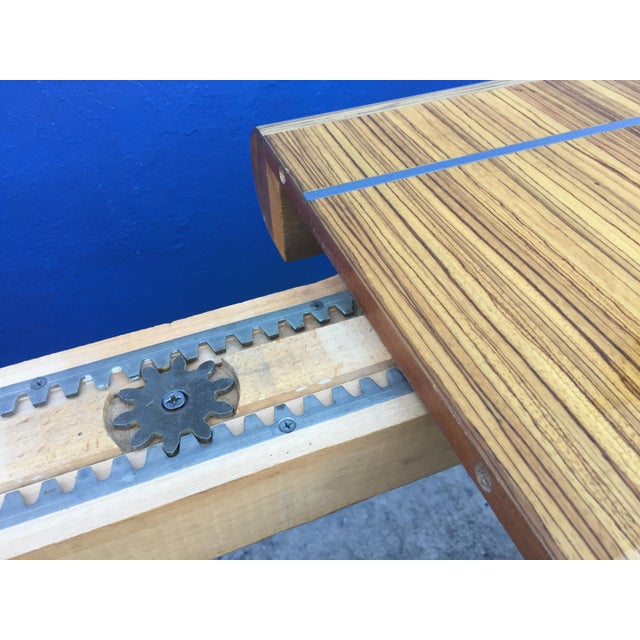 Chrome Modernist Zebrawood & Chrome Dining Table For Sale - Image 7 of 11