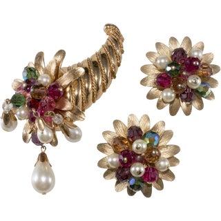 Napier 1960s Vintage Dangling Bead Cornucopia Brooch Earring Set Horn of Plenty For Sale