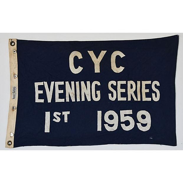 Boho Chic Vintage 1959 Cleveland Yacht Club Trophy Flag For Sale - Image 3 of 6