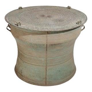 Antique Bronze Burmese Karen Frog Drum For Sale