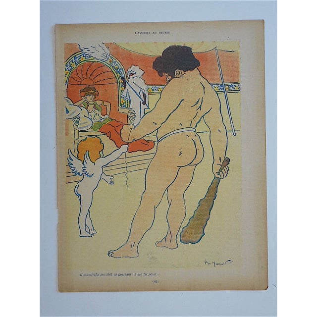 This antique lithograph depicts an amusing image of Cupid by listed French artist, George Meunier (France 19th/20th C.)....