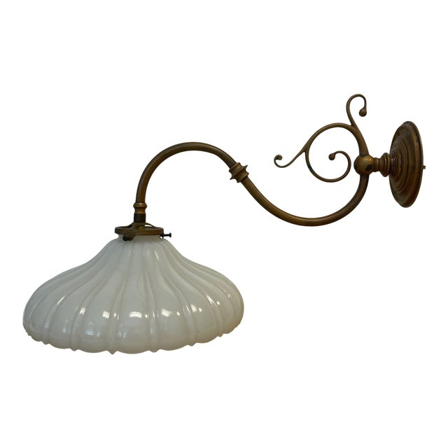 Vintage 1900s Wall Sconce in Antiqued Brass With Milk Glass Shade For Sale