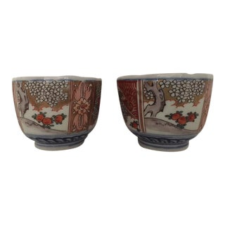 Antique Japanese Colored Imari Tea Cups - A Pair