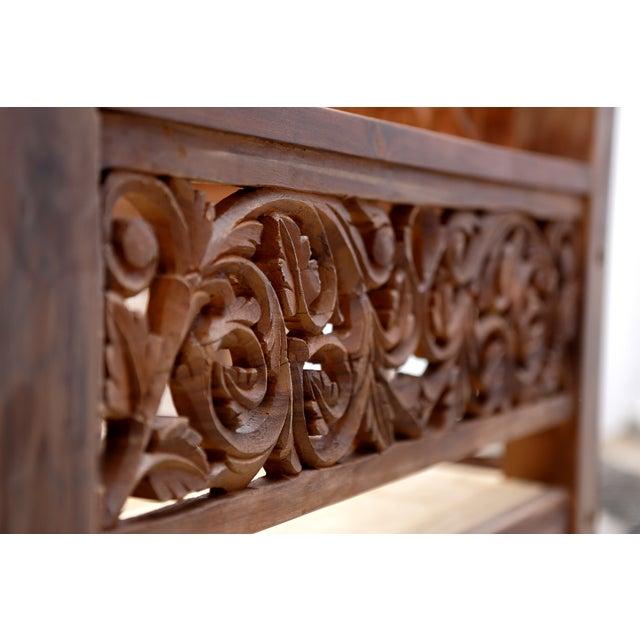 Floral Hand Carved Teak Daybed - Image 4 of 10