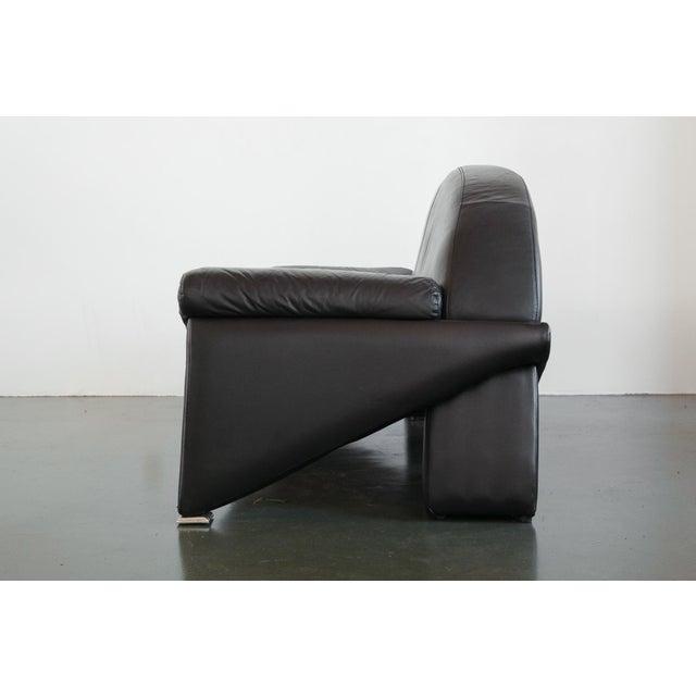 Italian Post Modern Italian Black Leather Sofa For Sale - Image 3 of 10