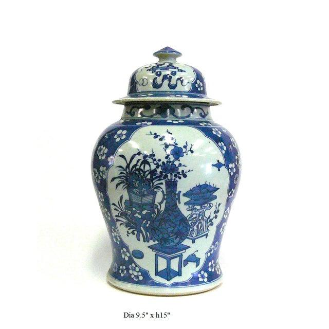 Porcelain Blue & White Temple Jar Flower Vase - Image 4 of 5