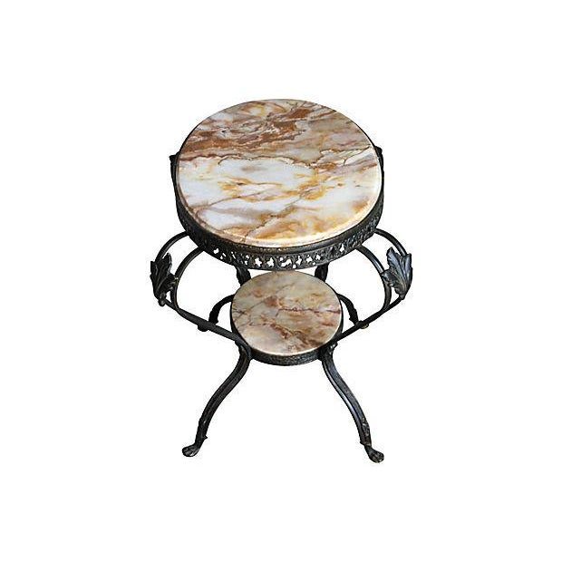 Antique French Bronze & Marble 2 Tier Accent Table - Image 3 of 6