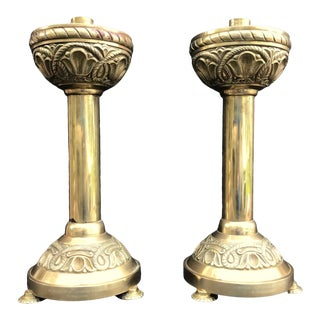 Antique 19th C. Monumental English Ecclesiastical Brass Candlesticks in Gothic Revival Style For Sale