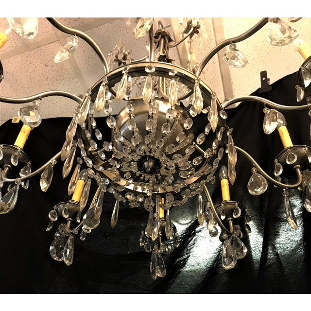 Vintage Ten Arm Nickel and Crystal Chandelier For Sale - Image 4 of 13