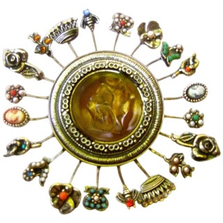 Massive Circular Medallion Lucite Intaglio Brooch Circa 1970s For Sale