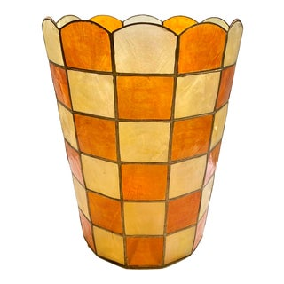 Mid-Century Modern Capiz Wastebasket Orange & Yellow For Sale