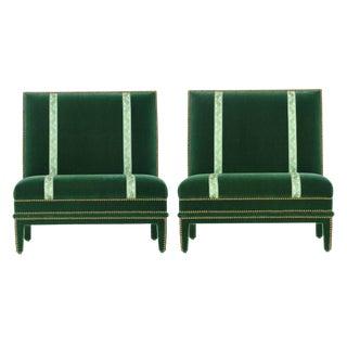 Hollywood Regency Velvet Slipper Chairs - A Pair