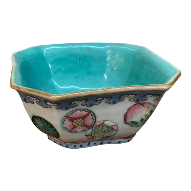 Mid 20th Century Small Chinese Export Hexagonal Bowl For Sale