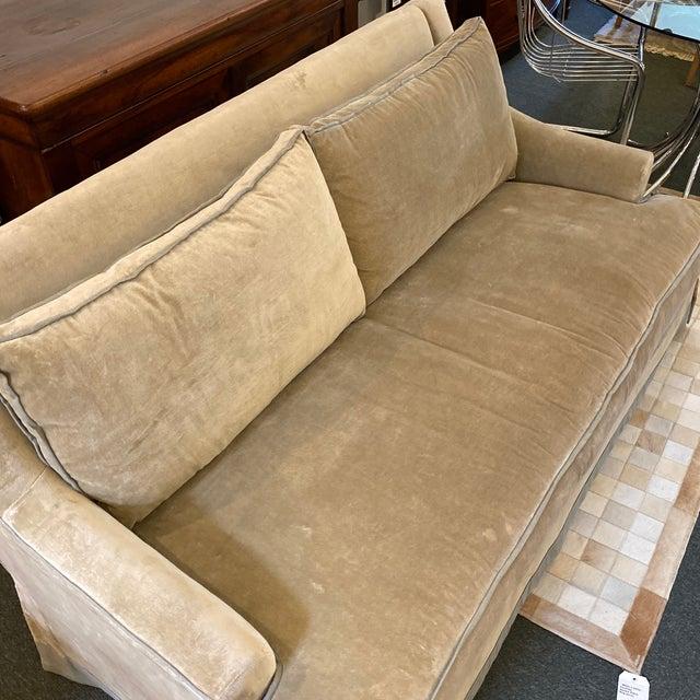 Baker Furniture Custom Velvet + Linen Trimmed Loveseat For Sale - Image 10 of 12