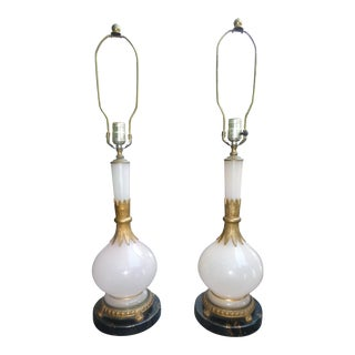 Chic French Art Deco Style Light Pink Opaline Table Lamps - a Pair For Sale