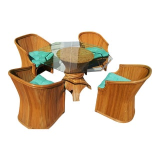 Vintage Mid Century Palm Beach Pencil Reed Dining Set- 5 Pieces For Sale