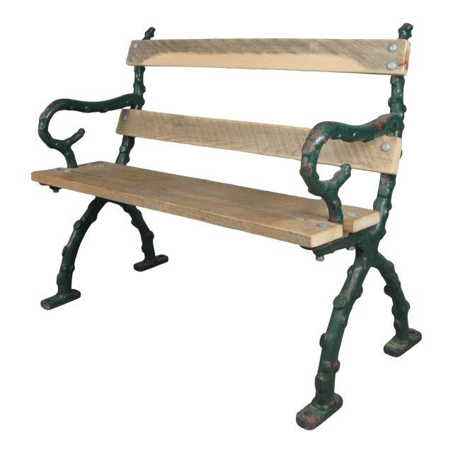 Early 20th Century Antique Cast Iron English Garden Bench For Sale