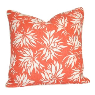"""Printed Orange and White 20"""" X 20"""" Pillow With Down Insert For Sale"""