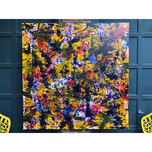 """Acrylic Painting by Artist Troy Smith - Title, Blue Dream. Contemporary Art - Abstraction Dimensions - 60"""" x 60"""" x 2""""..."""