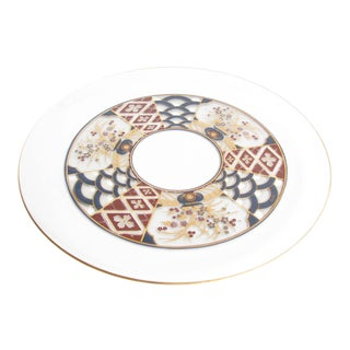 Vintage Culver Glass Tray With Red, Blue and Gold Imari Motif For Sale