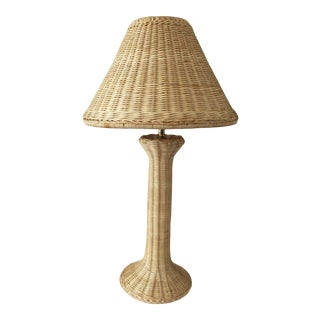 Late 20th Century Tan Wicker Table Lamp For Sale