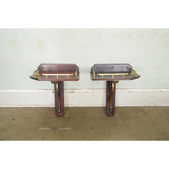 Late 19th Century Victorian Antique Pair of Aesthetic Bronze and Mahogany Wall Bracket Shelves For Sale - Image 5 of 13