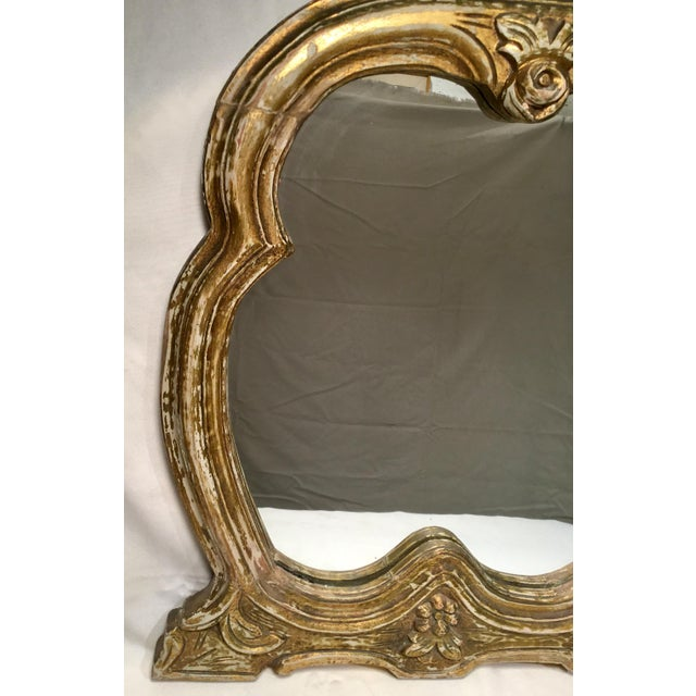 French Style Gilt Mirror With Floral Details For Sale - Image 10 of 12