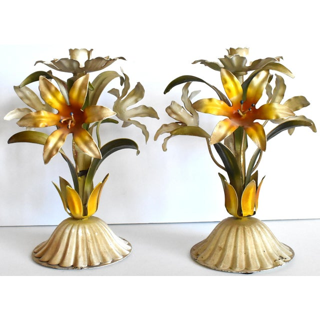 Vintage Italian Tole Lilies Flowers Painted Tole Candle Holders - a Pair For Sale - Image 10 of 10