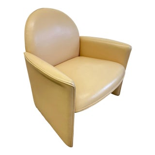 Italian Leather Modern Lounge Chair For Sale
