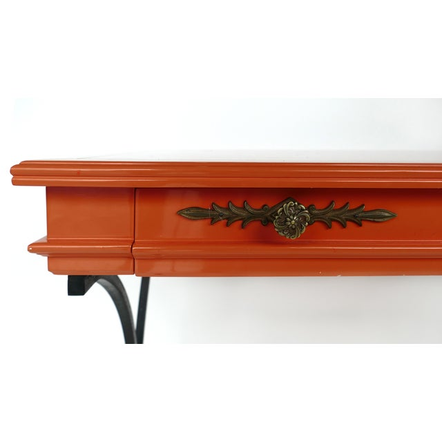 Orange Italian Orange Lacquer Wrought Iron Desk & Chair - 2 Pieces For Sale - Image 8 of 13