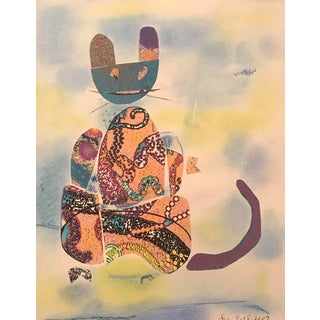 "2009 ""Cat"" Collaged & Watercolor Painting by James Bone For Sale"
