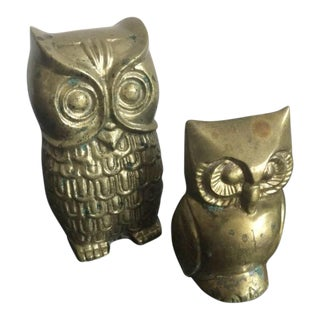 Mid-Century Brass Owl Set - Set of 2 For Sale