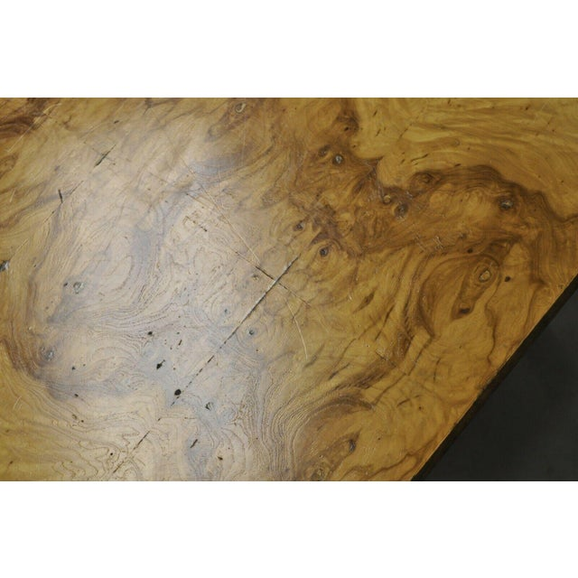 Burlwood Milo Baughman Mid Century Modern Burl & Chrome Burlwood Square Coffee Table For Sale - Image 7 of 10