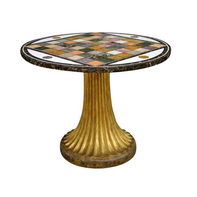 Pieta Dura Inlaid Marble Specimen and Cast Iron Center Table For Sale