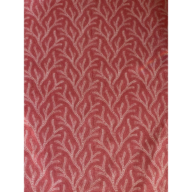 Traditional Jane Shelton Screen Print Linen Fabric Holly 3 1/2 Yards For Sale - Image 3 of 5
