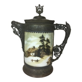 1920s Antique Silver Plated and Porcelain Pitcher For Sale