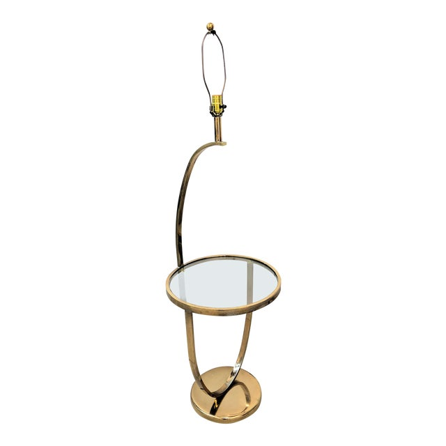 1970s Modern Curved Brass Floor Lamp With Table For Sale