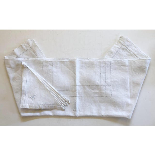 White French Linen Tablecloth & Napkins - Set of 7 For Sale - Image 8 of 8