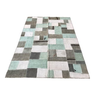 Vintage Turkish Hemp Patchwork Rug - 5′2″ × 7′9″ For Sale