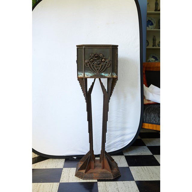 Early 20th Century Art Deco Iron Pedestal Planter For Sale - Image 5 of 13