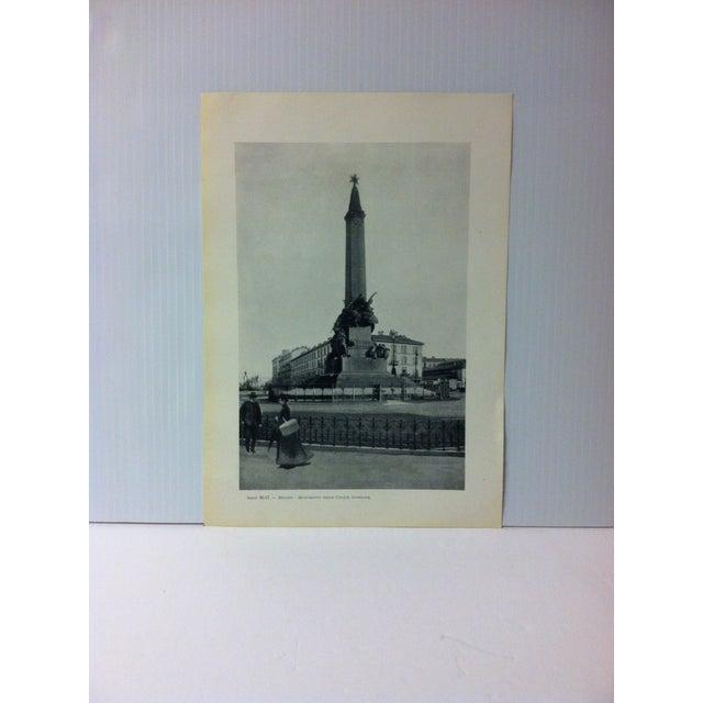 """Circa 1930 """"Monumento Delle Cinque Gi """" Print of Milano Italy For Sale - Image 4 of 4"""
