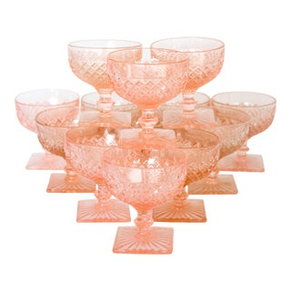 Miss America Blush Pink Sherbert Glasses - Set of 13