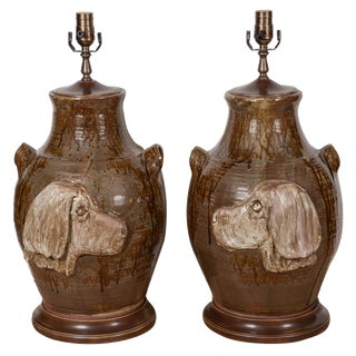 Hand Made Pottery Table Lamps - a Pair For Sale