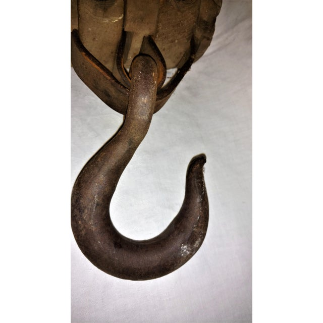 Antique Double Pulley Block and Tackle For Sale - Image 9 of 9